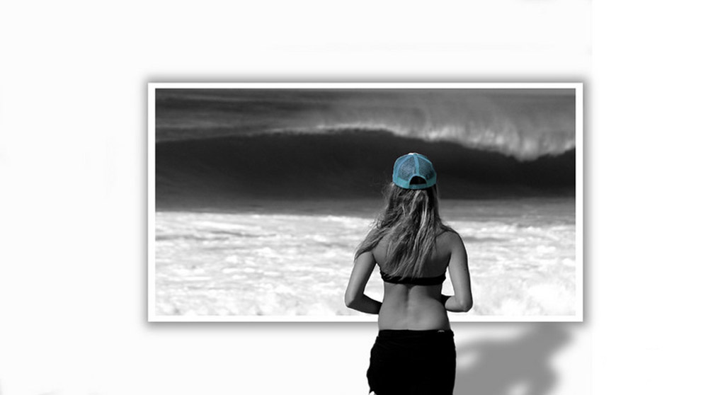Girl checking wave