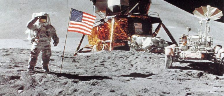 Astronaut Irwin Saluting Flag