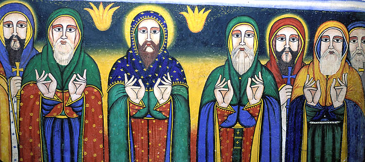 Painting of the nine saints (not all in photo) of the Ethiopian Orthodox Church, as depicted on the mural in the Church of Our Lady Mary of Zion.