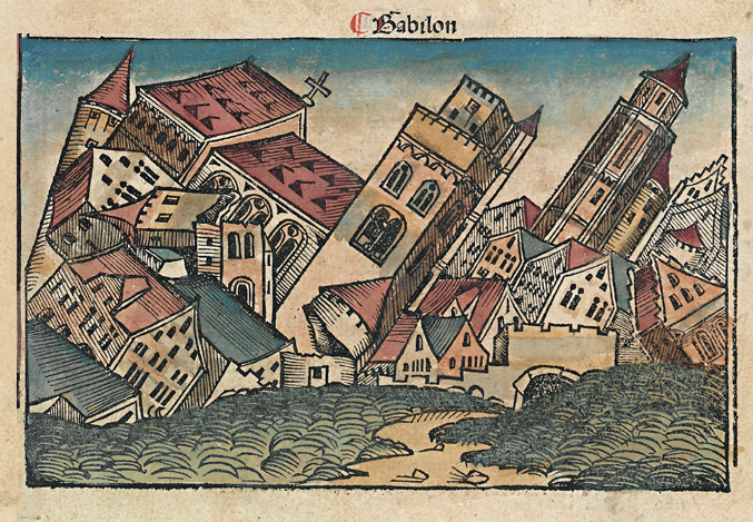 Woodcut in 1493 Nuremberg Chronicle depicting the fall of Babylon