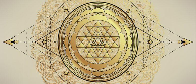 The Sri Yantra or Sri Chakra, form of mystical diagram, Shri Vidya school of Hindu tantra symbol. Sacred geometry vector design element